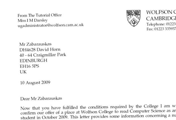 Confirmation Letter. Cambridge University, Wolfson College, 2009.